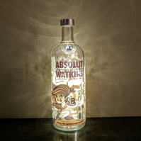 Absolut Watkins Vodka Bottle Lamp with Warm White LED Fairy Lights Batteries Inc