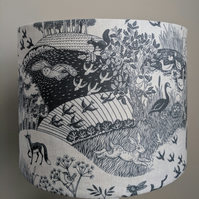 Rustic Blue and White Whimsical Wildlife Lampshade ft. Foxes, Birds & Hedgehogs
