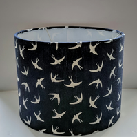 Hand-covered Navy Blue Lampshade with White Swallows for Ceiling or Lamp