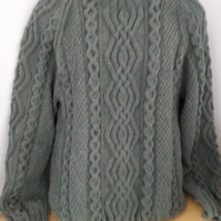Hand knitted Aran sweater size 44""
