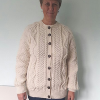 Hand knitted Aran cardigan size 38""