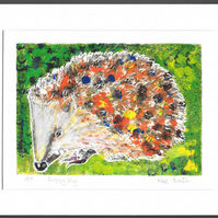 fuzzy pig - hedgehog, hand painted monoprint 004
