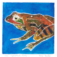 speckled frog - charity print, hand painted original 003