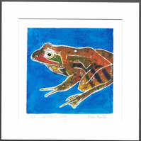 speckled frog - hand painted monoprint 003