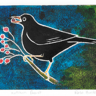 autumn feast - charity print, blackbird, original hand painted linoprint 002
