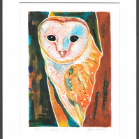 ghost owl - original hand painted monoprint 005