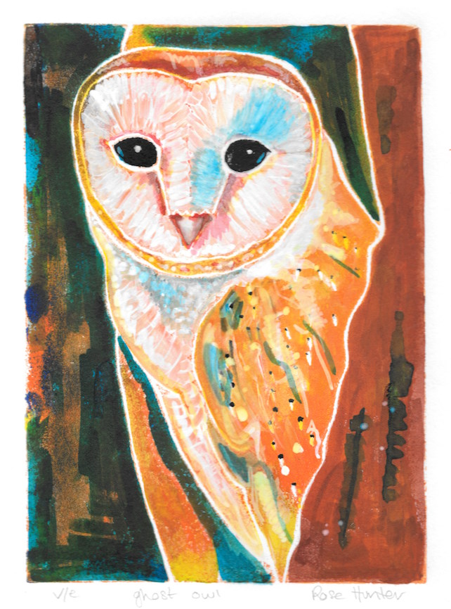 ghost owl - charity print, original hand painted linocut