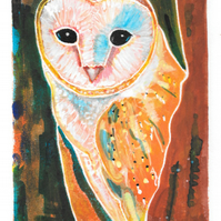 ghost owl - charity print, original hand painted linocut 005