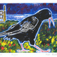 Digger - charity, original hand painted linocut of the Cornish Chough