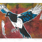 the Picardy Magpie - charity, original hand painted linocut