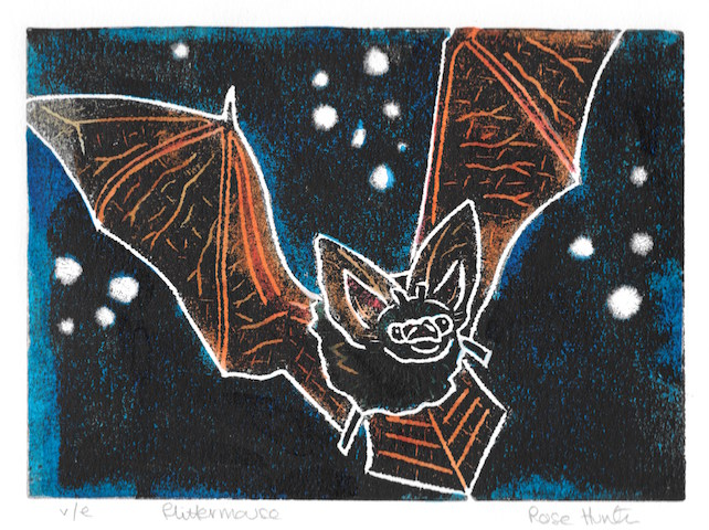 flittermouse - charity print, bat, original hand painted linoprint