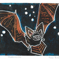 flittermouse - charity print, bat, original hand painted linoprint 007