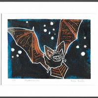 flittermouse - bat, original hand painted monoprint 007