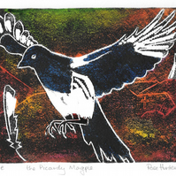 the Picardy Magpie - charity, original hand painted linocut 006