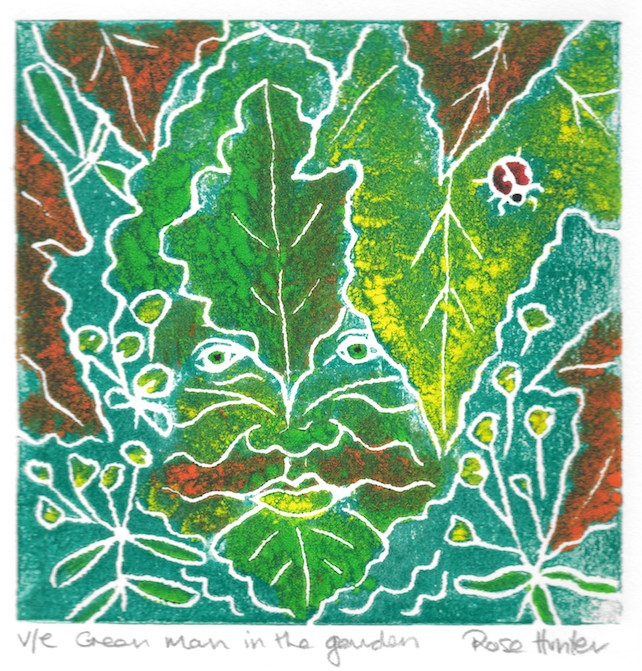Green Man in the garden- charity original hand painted linoprint 001