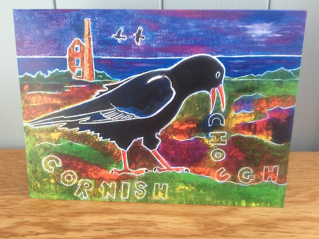 Cornish Chough- charity greeting card