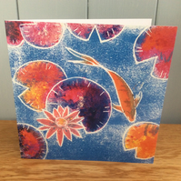 Carpe Diem - charity greeting card showing a goldfish and water lilies