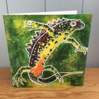 Crested Dragon - charity greeting card of a Great Crested Newt