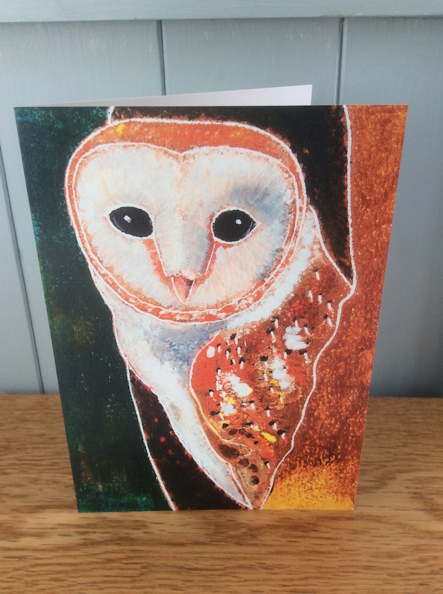 Ghost Owl - charity greeting card of a Barn Owl