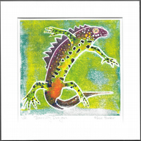 Dancing Dragon - newt, hand painted original monoprint 022