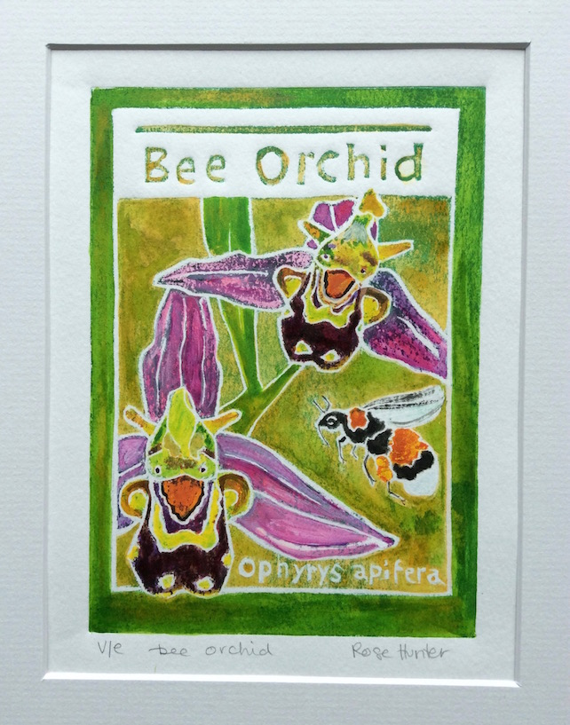 Bee Orchid - charity original hand painted lino print 001