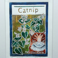 Catnip - charity original hand painted lino print 001