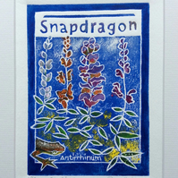 Snapdragon - charity original hand painted lino print 002