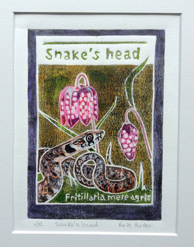 Snake's Head - charity original hand painted lino print 001