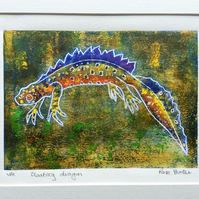 Floating Dragon - original hand painted lino print 002