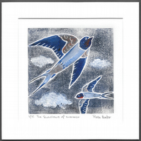 The swallows of summer -original hand painted monprint 003