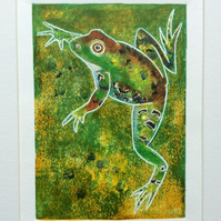Leaping Fog - original hand painted monoprint 002