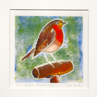 robin redbreast - original hand painted monoprint 016