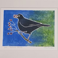 autumn feast - blackbird, original hand painted monoprint 008