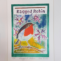 Ragged Robin - original hand painted monoprint 001