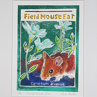 Field Mouse Ear - original hand painted lino print 002