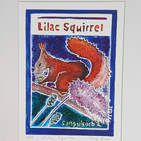 Lilac Squirrel - original hand painted lino print 001