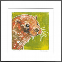 Lutra - Otter original hand painted monoprint 003