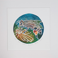 The bee's knees - original hand painted lino print 004