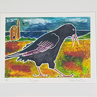 Digger - hand painted monoprint of the Cornish Chough 008