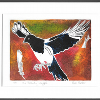 the Picardy Magpie - original hand painted monoprint 003