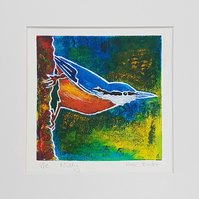 nutty - original hand painted monoprint of a nuthatch 011