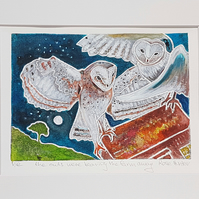the owls - original hand painted monoprint  - poem 'Fern Hill' 012