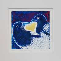 Two for Joy - original hand painted lino print 004