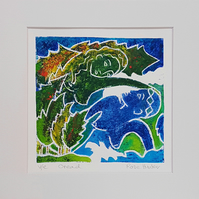 Oread - original hand painted monoprint inspired by poetry 003