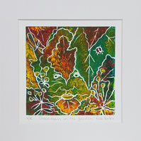 Green Man in the garden- original hand painted monoprint 005
