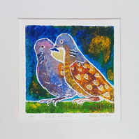 Love Doves - original hand painted lino print 002