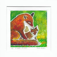 A Tale of Love - original hand painted lino print 002