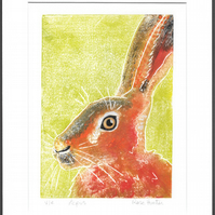 lepus - brown hare, hand painted original monoprint 004