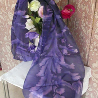 Hand painted and salted, thistle shapes in purple and pink on 100% silk scarf.