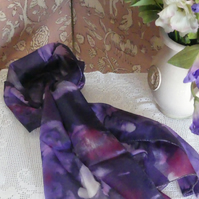 Purple, while and red  abstract long pure silk scarf